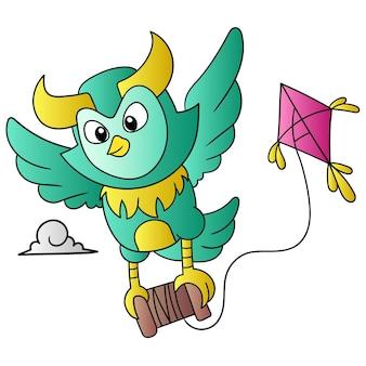 De uil vloog de lucht in en droeg de vlieger de lucht in, vectorillustratiekunst. doodle pictogram afbeelding kawaii.