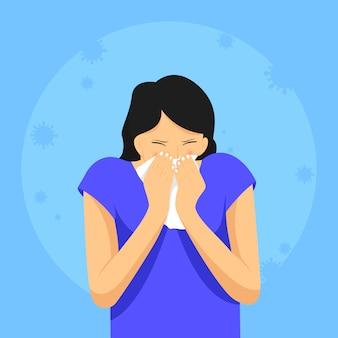 De uitdrukking van een vrouw die niest van een ziekte