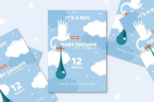 De uitnodiging van de babydouche die voor jongen wordt geïllustreerd