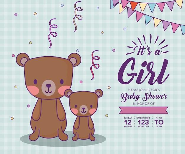 De uitnodiging van de babydouche met zijn een meisjesconcept met leuke beren over blauwe achtergrond, kleurrijk ontwerp