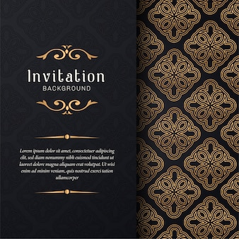 De uitnodiging van de groetkaart met bloemenornamenten, gouden sierpatroonachtergrond