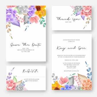 De uitnodiging van het huwelijk, bloemen nodigt dank u, rsvp moderne kaart desig uit