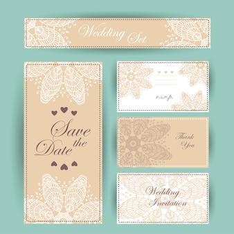 De uitnodiging van het huwelijk, dankt u kaardt, sparen de datumkaarten. rsvp-kaart