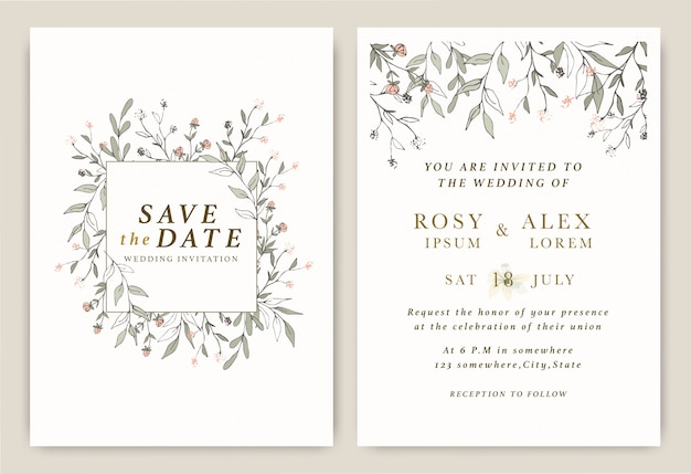 De uitnodigingen van het huwelijk bewaren de datumkaart met elegante tuinanemoon.