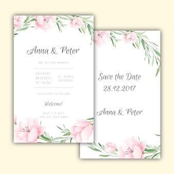 De uitnodigingen van het huwelijksontwerp met waterverfbloemen
