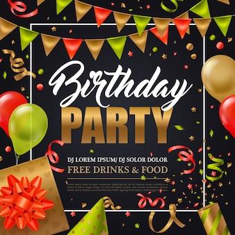 De uitnodigingsaffiche van de verjaardagspartij met kleurrijke vakantieelementen op zwarte vlakke vectorillustratie als achtergrond