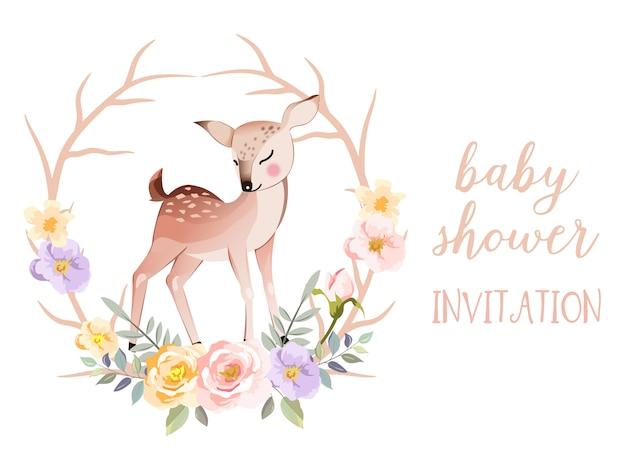 De uitnodigingskaart van de babydouche met leuke dierlijke illustratie