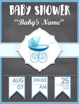 De uitnodigingskaart van de babydouche voor jongensontwerp