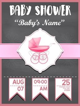 De uitnodigingskaart van de babydouche voor meisjesbaby