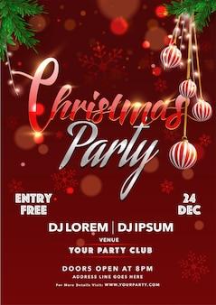 De uitnodigingskaart van de kerstmispartij met hangende snuisterijen en gebeurtenisdetails op rood sneeuwvlok bokeh effect