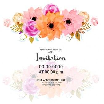 De uitnodigingskaart van de partij met waterverf bloemen.