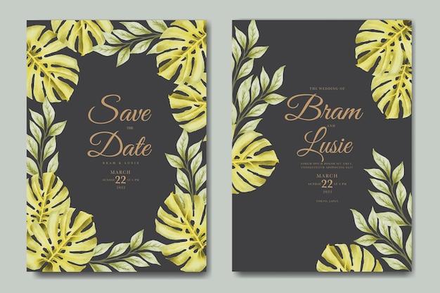 De uitnodigingskaart van het huwelijk met bladeren aquarel