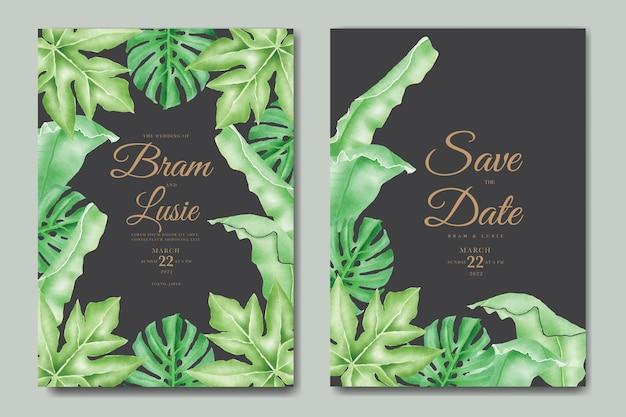 De uitnodigingskaart van het huwelijk met bloemen bladeren aquarel