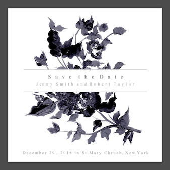 De uitnodigingskaart van het waterverf zwart-witte bloemenhuwelijk