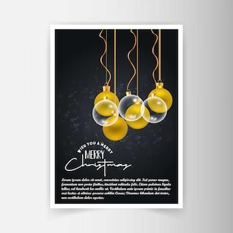 De uitnodigingskaart van kerstmis met creatief ontwerp en donkere backgrou