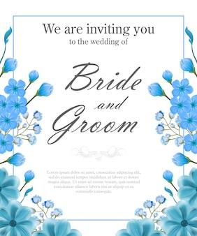 De uitnodigingsmalplaatje van het huwelijk met blauw frame en vergeet-mij-nietjes.