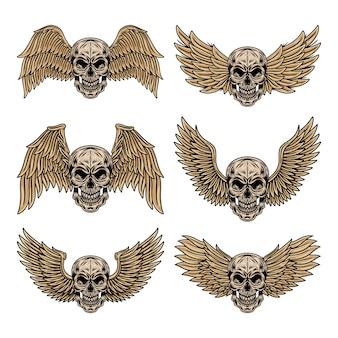 De uitstekende reeks gevleugelde schedels isoleerde retro vectorillustratie.