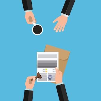 De uitvoering van de notarisdienst van documenten zegel en handtekening