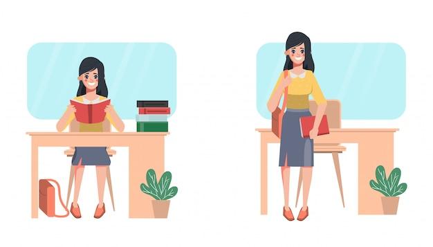 De universiteitsvrouw die van de student veel boekenkarakter houdt aan lezing bij bureau.
