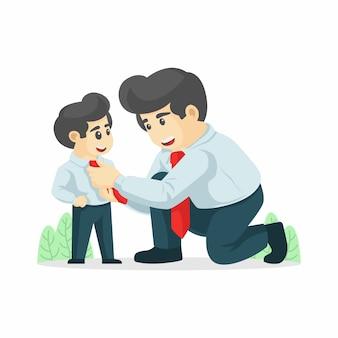 De vader maakte de das van zijn zoon vast. zakenman met zakelijke zoon vectorillustratie, gelukkige vaderdag