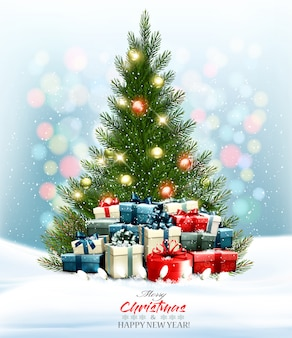De vakantieachtergrond met kleurrijk stelt en kerstboom met slinger voor. .