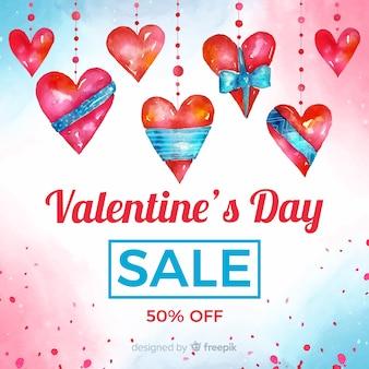 De valentijnskaartverkoop van de waterverf hangende harten bakcground