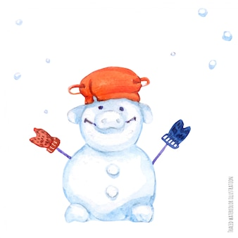 De varken-sneeuwman