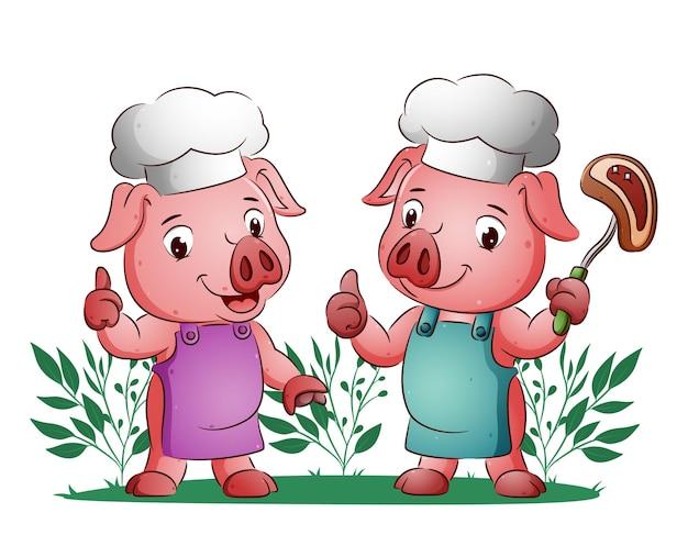 De varkens geven de duim omhoog en houden het vlees vast met de vork ter illustratie