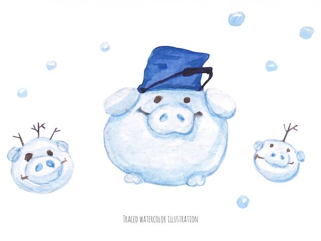 De varkens-sneeuwmannen
