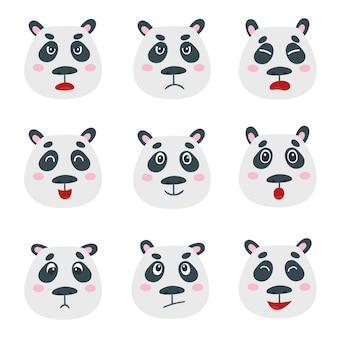De vector die met zoete panda wordt geplaatst draagt geïsoleerde emotiegezichten