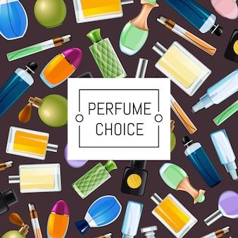 De vector gekleurde illustratie van parfumflessen