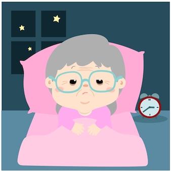 De vector illustratie van bejaard beeldverhaalkarakter lijdt aan slapeloosheid
