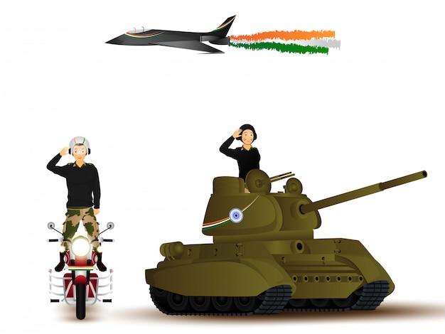 De vector illustratie van het karakter van legermensen in het groeten stelt met