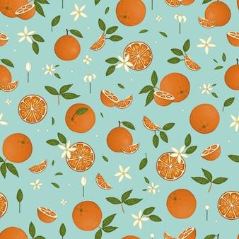 De vector kleurde naadloos patroon van sinaasappelen dat op blauwe pastelkleurachtergrond wordt geïsoleerd