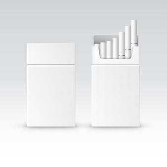 De vector lege doos van het pakketpakket van sigaretten die op wit worden geïsoleerd