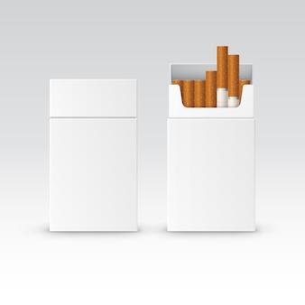 De vector lege doos van het pakketpakket van sigaretten die op witte achtergrond worden geïsoleerd