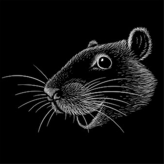 De vector-logo muis of rat voor tattoo of t-shirt design of uitloper