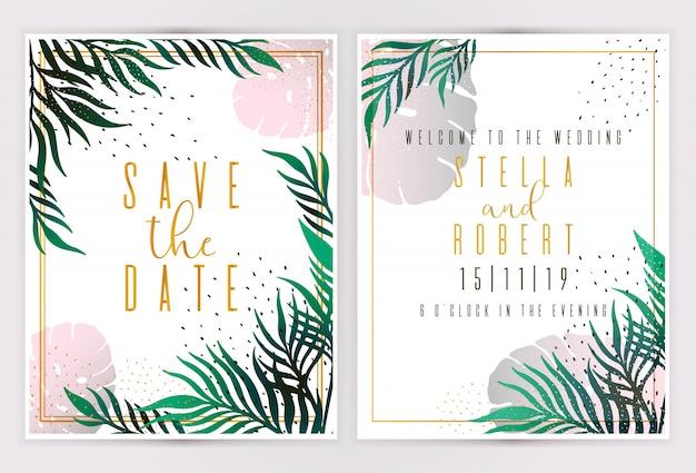 De vector tropische banners van de bladerenzomer op witte uitnodiging als achtergrond.