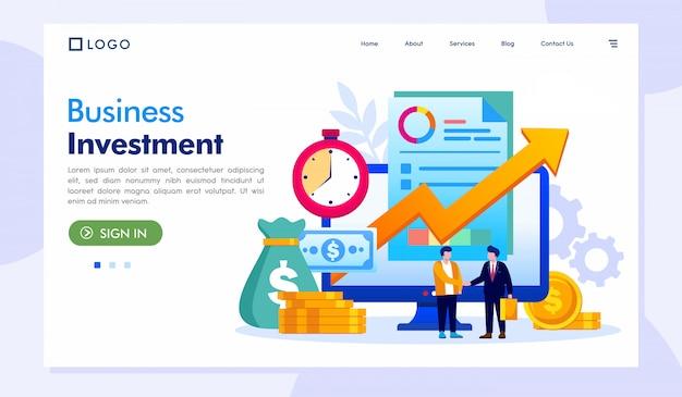 De vector van de de websiteillustratie van de bedrijfsinvesteringslandingspagina