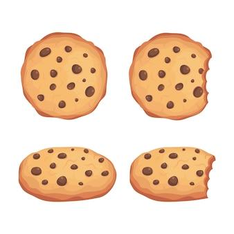 De vector vastgestelde illustratie van chocoladeschilferskoekjes