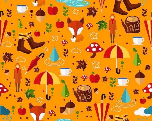 De vector vlakke naadloze herfst van het textuurpatroon.