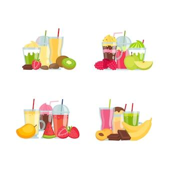 De vector vlakke stapels van smoothieelementen geplaatst die op witte illustratie worden geïsoleerd als achtergrond