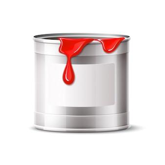 De vector zilveren verf kan lege emmer met rode verf leegmaken