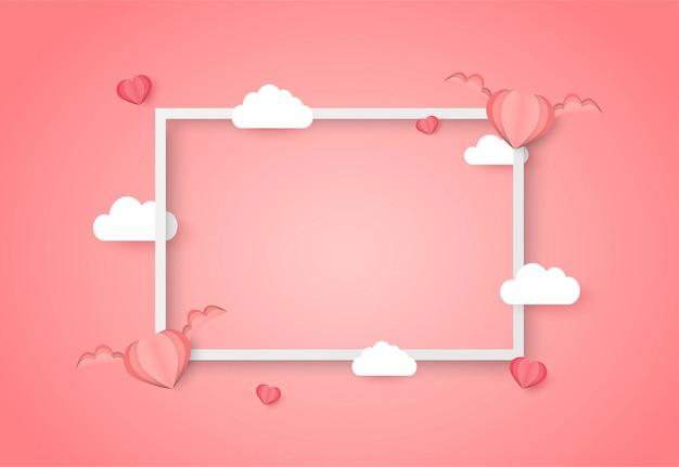 De vectorachtergrond van de valentijnskaartendag met roze hartvorm