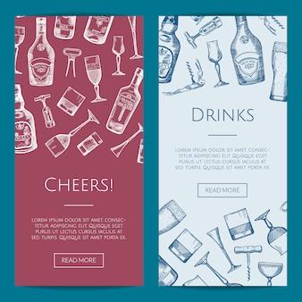 De vectorhand getrokken flessen van de alcoholdrank en de bannersillustratie van het glazen verticale web