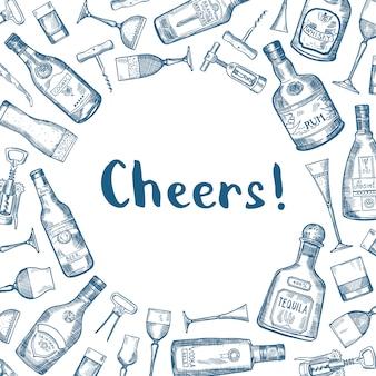 De vectorhand getrokken flessen van de alcoholdrank en glazenillustratie als achtergrond met plaats voor tekst in centrum