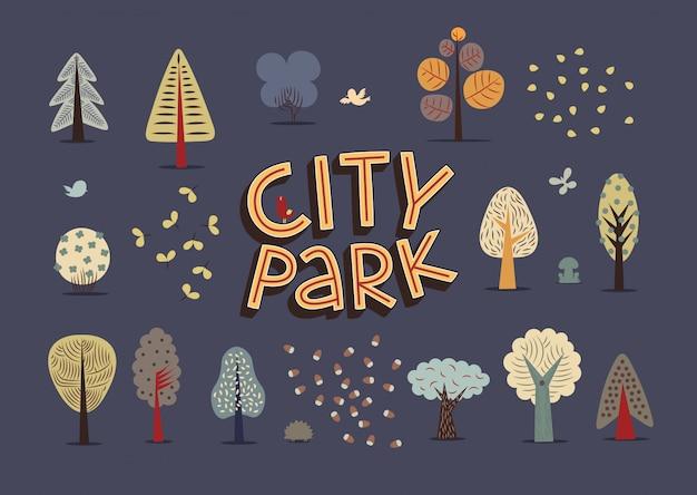 De vectorillustratie van de vlakke elementen van het stadspark