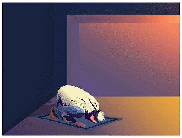 De vectorillustratie van godsdienstige moslimmens bidt thuis aan god in ramadanviering.