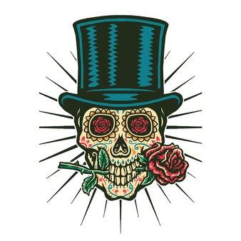 De vectorillustratie van suikerschedel draagt hoge zijden en bijt de roos