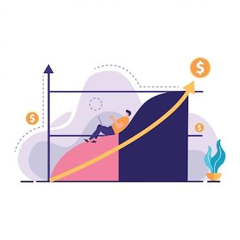 De vectorillustratie van zakenmanshow boost marktaandeelinvestering